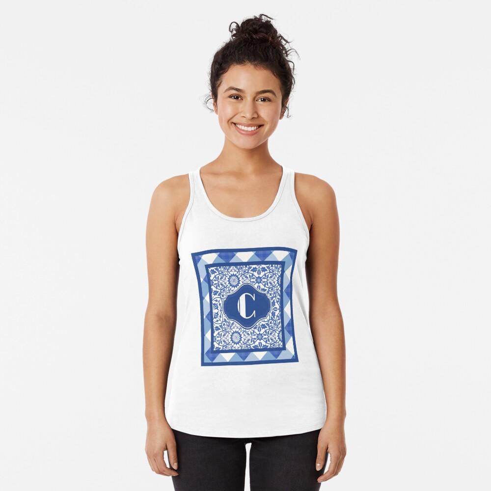 Letter C Monogram in Indigo Patterns Camiseta con espalda nadadora