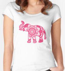 Mandala Elephant Pink Women's Fitted Scoop T-Shirt