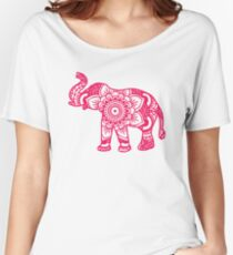 Mandala Elephant Pink Women's Relaxed Fit T-Shirt