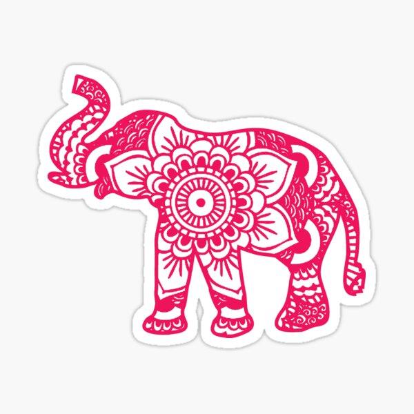 Mandala Elephant Pink Sticker