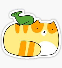 Little Hadrosaurid and Tabby Cat Sticker