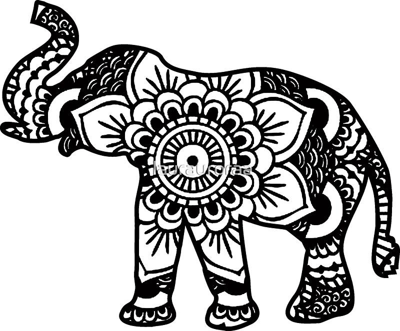 Mandala Elephant Black Stickers By Laurauroraa