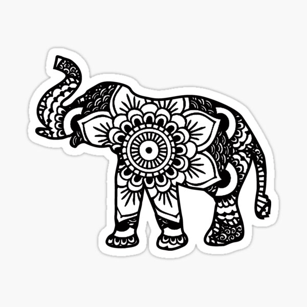 Mandala Elephant Black Sticker