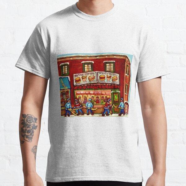 WINTER STREET HOCKEY GAME NEAR THE HOT DOG SPOT MONTREAL HOCKEY PAINTINGS Classic T-Shirt