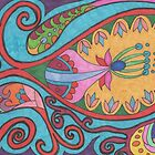 Paisley abstract colourful pattern by Lynn Excell