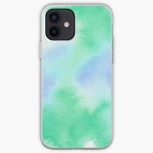 Tranquil Dreams, Simple Blue & Green Watercolor iPhone Soft Case