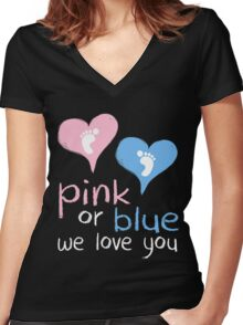 Pink Or Blue We Love You Baby Shower Heart Gender Reveal Party Mens Womens T Shirt You Baby Shower Gender Reveal Party Mens Womens T Shirt Funny Cute Gift Women's Fitted V-Neck T-Shirt