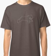 Schnauzer running (line drawing) graphic (white ink) Classic T-Shirt