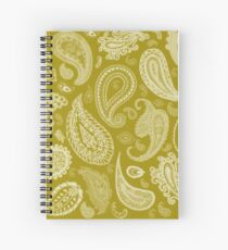 White Paisley on Color #A38E09  Spiral Notebook