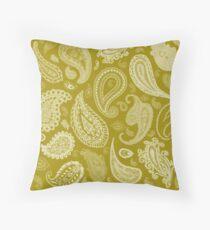 White Paisley on Color #A38E09  Throw Pillow