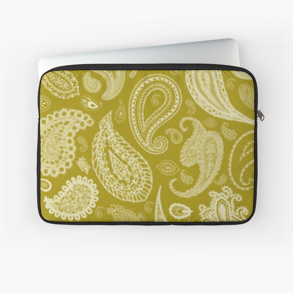 White Paisley on Color #A38E09  Laptop Sleeve