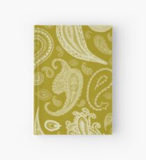 White Paisley on Color #A38E09  Hardcover Journal