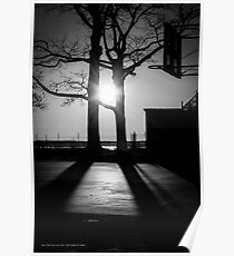 Basketball Court During Sunrise | New York City, New York Poster