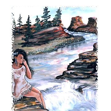 INDIAN MAIDEN BY WATERFALL by franniesbest