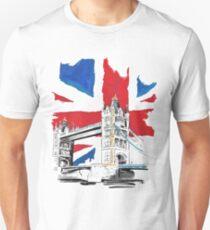 British Union Jack Flag - Tower Bridge, London Unisex T-Shirt