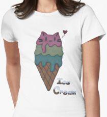 Ice Cream Cat Womens Fitted T-Shirt
