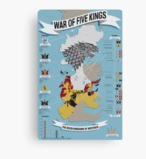 War of Five Kings Infographic Canvas Print