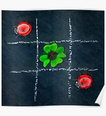 Clover and ladybugs tic-tac-toe pattern Poster