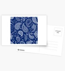White Paisley on Blue #07286B  Postcards