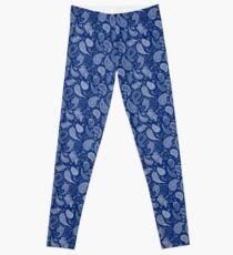 White Paisley on Blue #07286B  Leggings