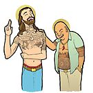 Jesus and Buddha Laughing - Brotherly Love by curiouscreators