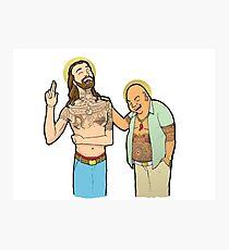 Jesus and Buddha Laughing - Brotherly Love Photographic Print