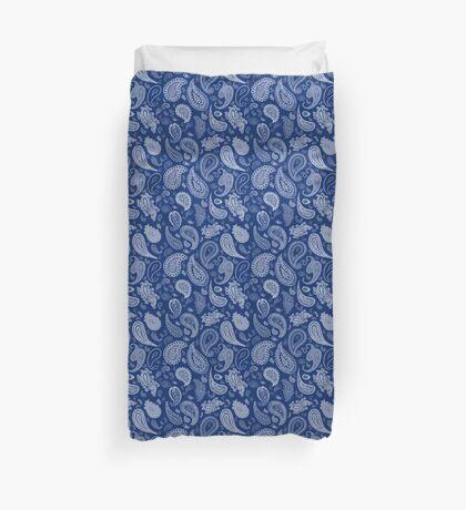 White Paisley on Blue #07286B  Duvet Cover