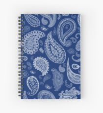 White Paisley on Blue #07286B  Spiral Notebook