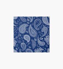 White Paisley on Blue #07286B  Art Board Print