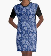 White Paisley on Blue #07286B  Graphic T-Shirt Dress