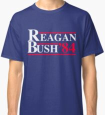 Reagan Bush '84 Retro Logo Red White Blue Election Ronald George 1984 84 1980 80 Republican Election Campaign Classic T-Shirt