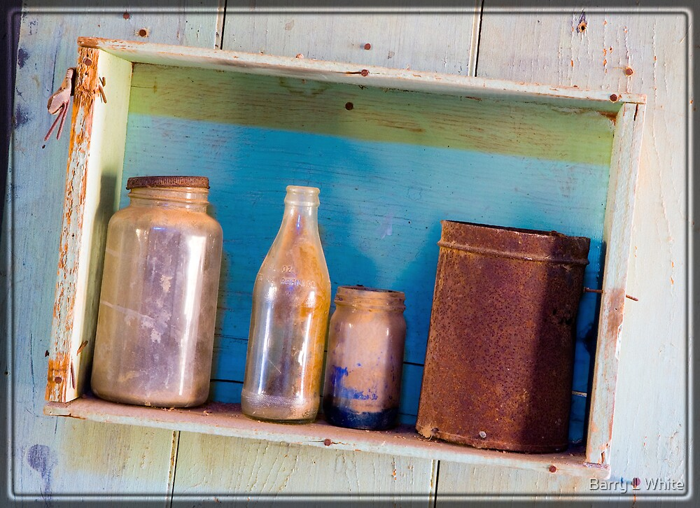Bottles in Shelf by Barry L White