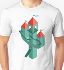 Fantastic castle on a turquoise background.  Unisex T-Shirt