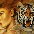Woman and Tiger by Lionel Leslie
