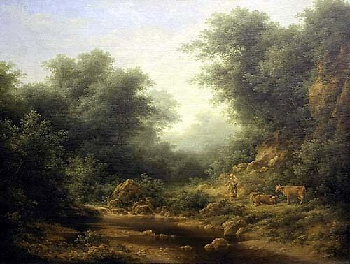Landscape with Cows by Lionel Leslie