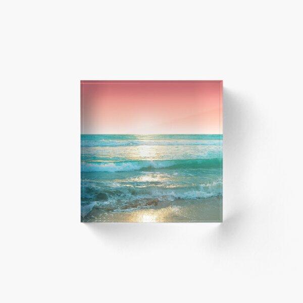 Aqua and Coral, 1 Acrylic Block