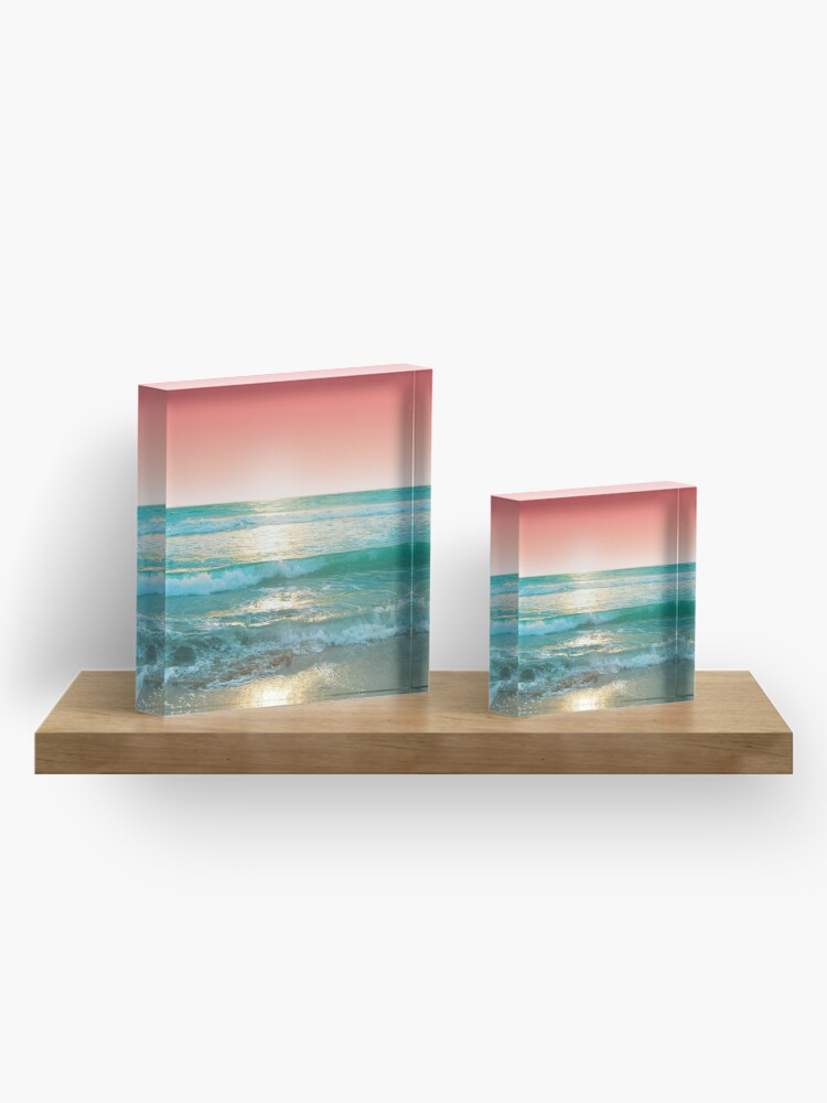 Alternate view of Aqua and Coral, 1 Acrylic Block