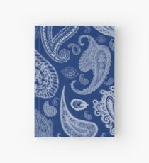 White Paisley on Blue #07286B  Hardcover Journal