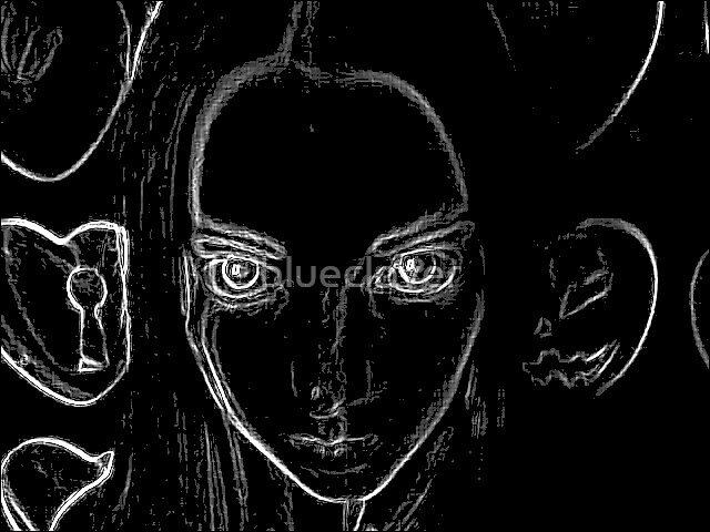 Self Portrait - white on black by blueclover