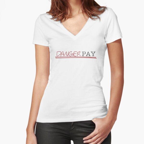 Danger Pay Logo Collection - Red/Black Logo Fitted V-Neck T-Shirt