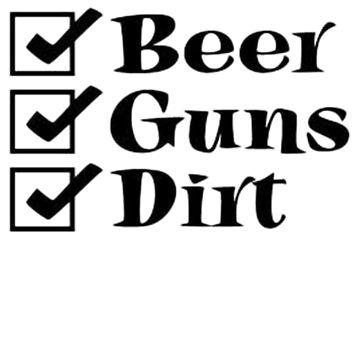 BEER GUNS DIRT Checklist by thatstickerguy
