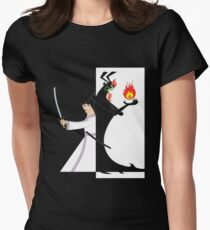Samurai Jack againts Aku Womens Fitted T-Shirt