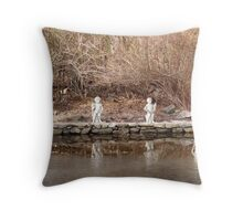 Cherubs on Icy Pond Throw Pillow