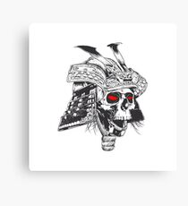 black and white samurai helmet with skull Canvas Print