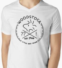 Woodstock emblem Mens V-Neck T-Shirt