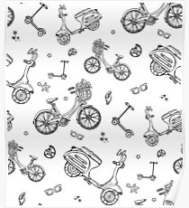 black and white seamless pattern with motorbike, bicycle, scooter Poster
