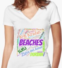 Best Beaches Of The World Women's Fitted V-Neck T-Shirt