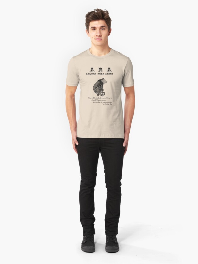 Alternate view of ABA - Circus Bear - Light Background Slim Fit T-Shirt