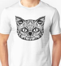 muzzle cat head, tattoo graphics, vector illustration T-Shirt