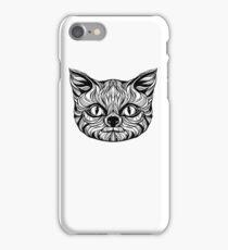 muzzle cat head, tattoo graphics, vector illustration iPhone Case/Skin